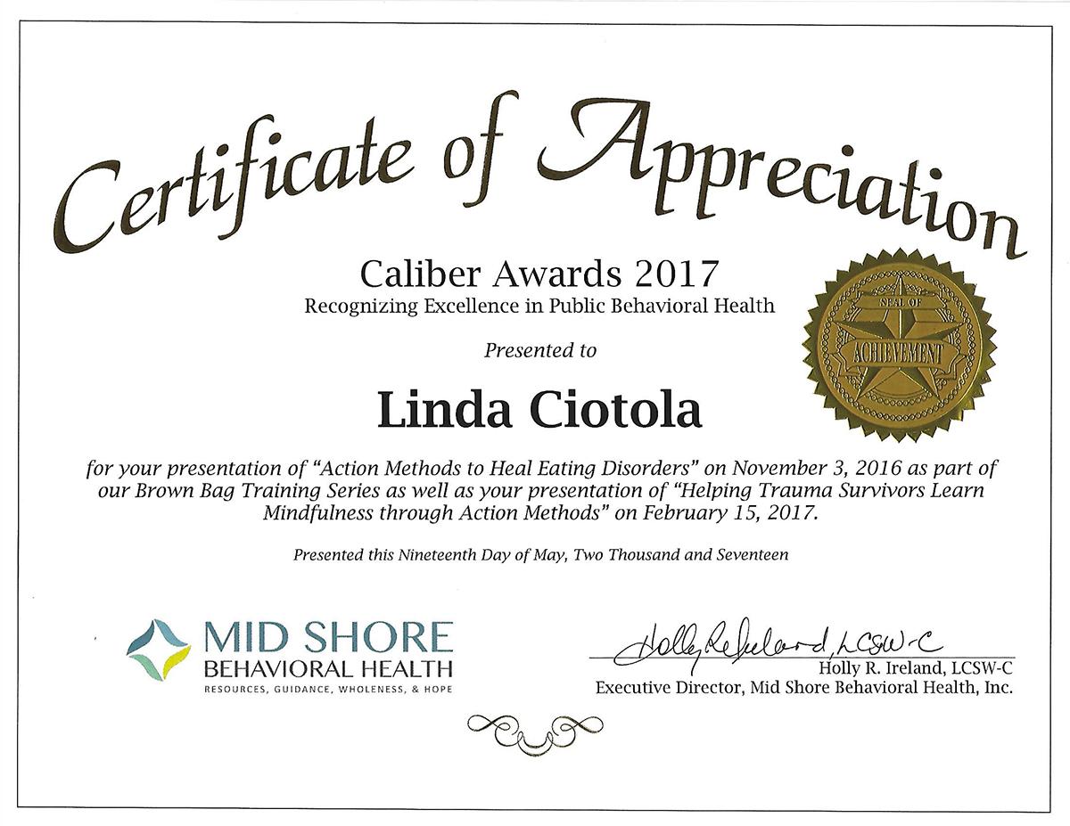 Linda Ciotola 2017 Caliber Award