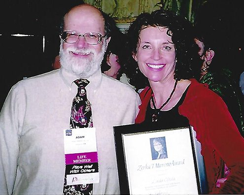 Author and Psychodramatist Adam Blatner, MD, TEP congratulates Linda on receiving the Zerka Moreno award